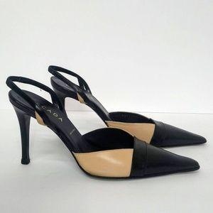 Escada Sling Back Pointed Toe Heels Tan Black 7.5